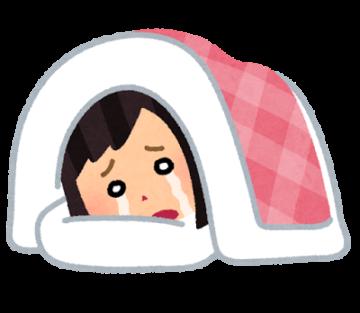 腰痛で寝込んでいる女性