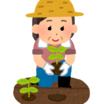 畑仕事する女性