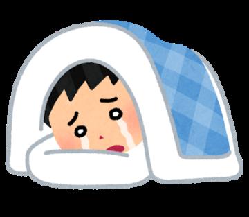 泣きながら寝る男性